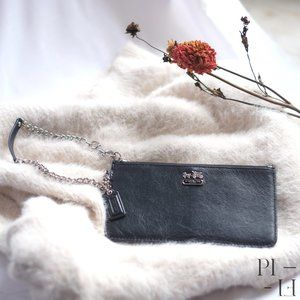 COACH leather wallet with detachable wrist chain